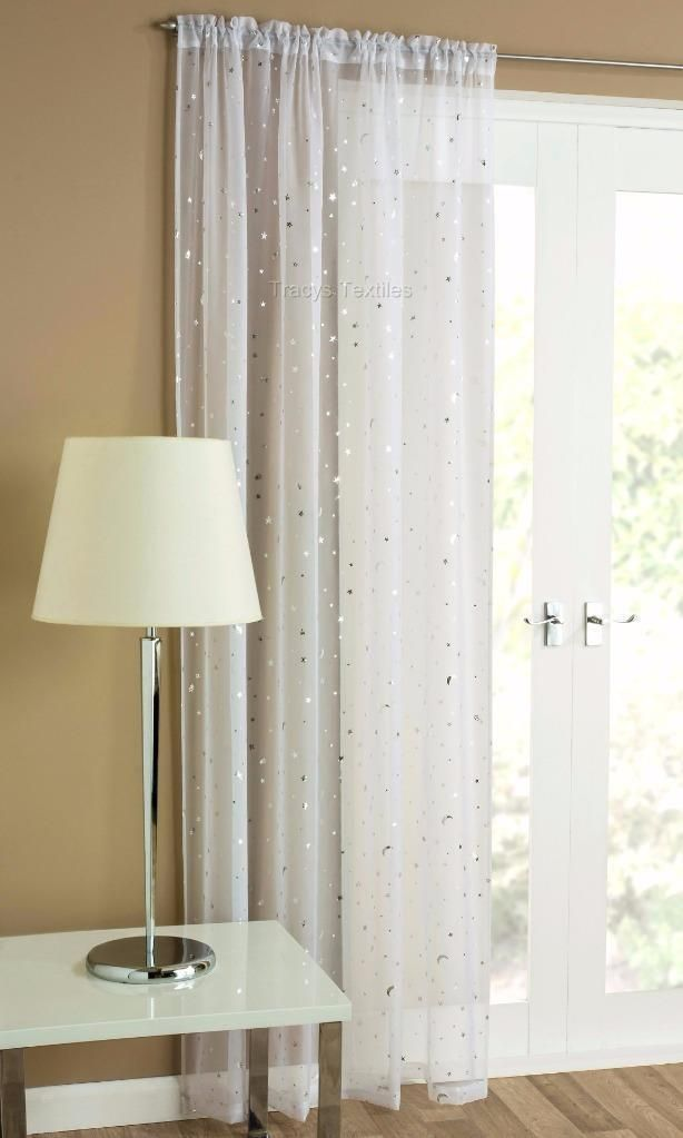STARLIGHT MOONLIGHT SHEER WHITE SILVER VOILE PANEL Moon And Stars Design