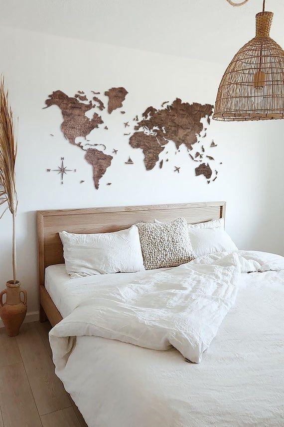 Photo of Mappa del mondo della parete della fattoria Rustico Art Decor Regalo per i genitori Regalo per il 5 ° anniversario in legno per il marito Fidanzato Mappa del mondo Decor in legno