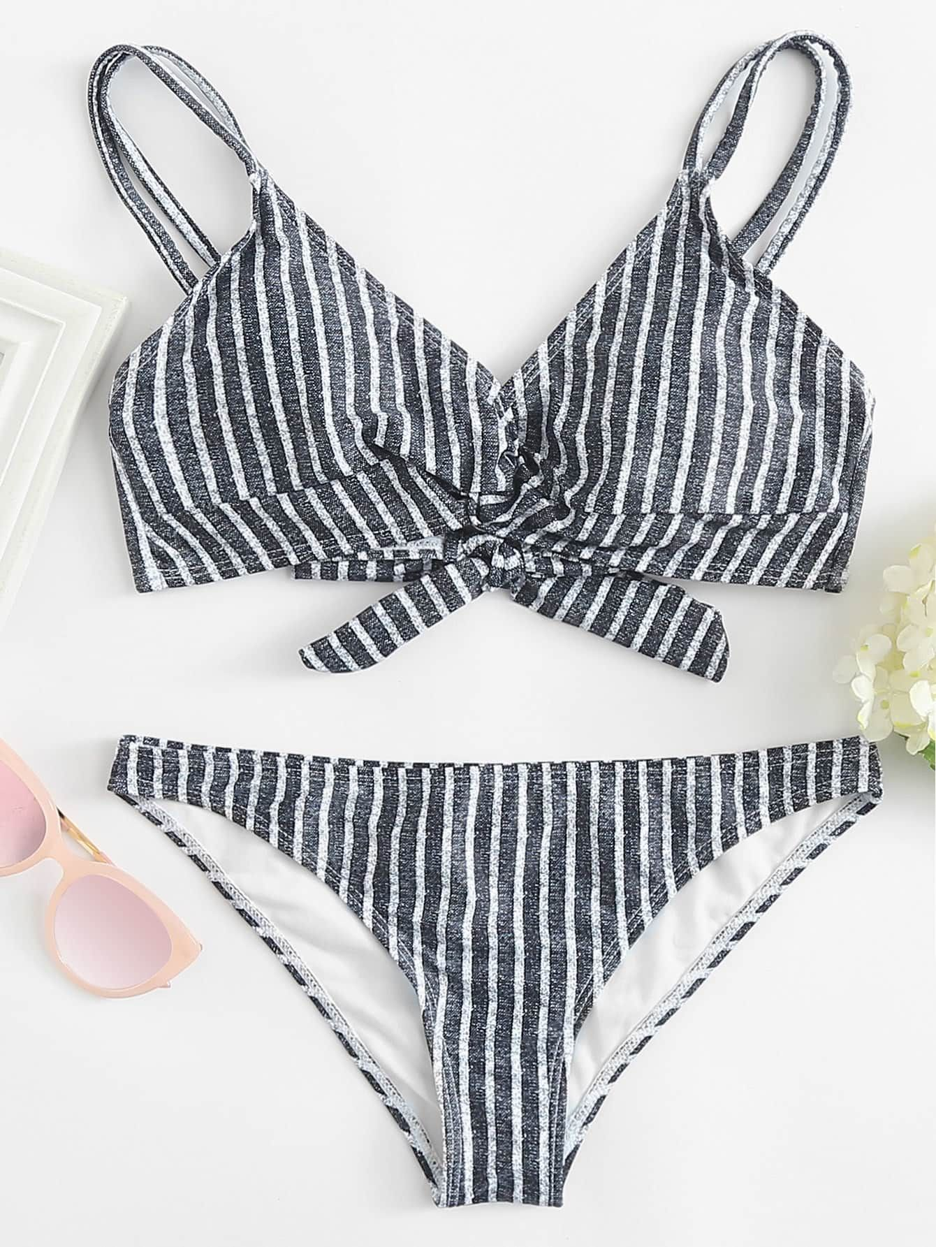 Twist Front Striped Bikini Set Romwe Striped Bikini Sets