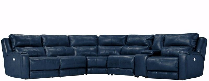 Southern Motion Dazzle 6 Piece Headrest Sectional In Regatta Top Grain Leather 883 Ph