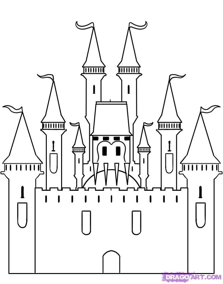 Step By Step Castle Drawing Castle Drawing Disney Castle Drawing Disney Drawings