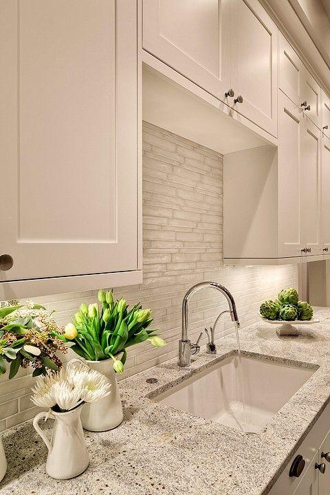 "Benjamin Moore ""White Dove"" & Kashmir White Granite - BEAUTIFUL."