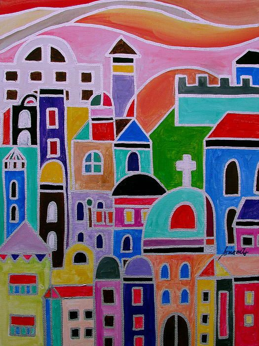 Mexican Guanajuato Town Abstract Painting Modern Great Housewarming Gift Birthday