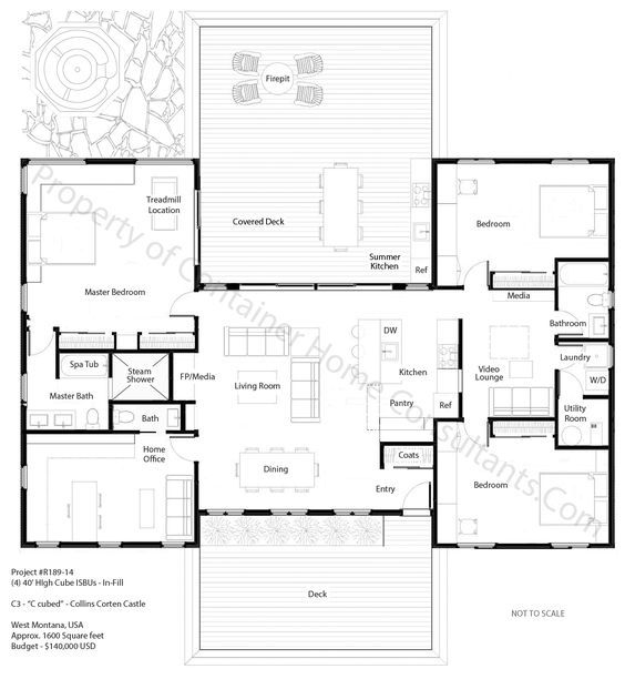 Tiny Home Designs: H Shaped Container Home Plan