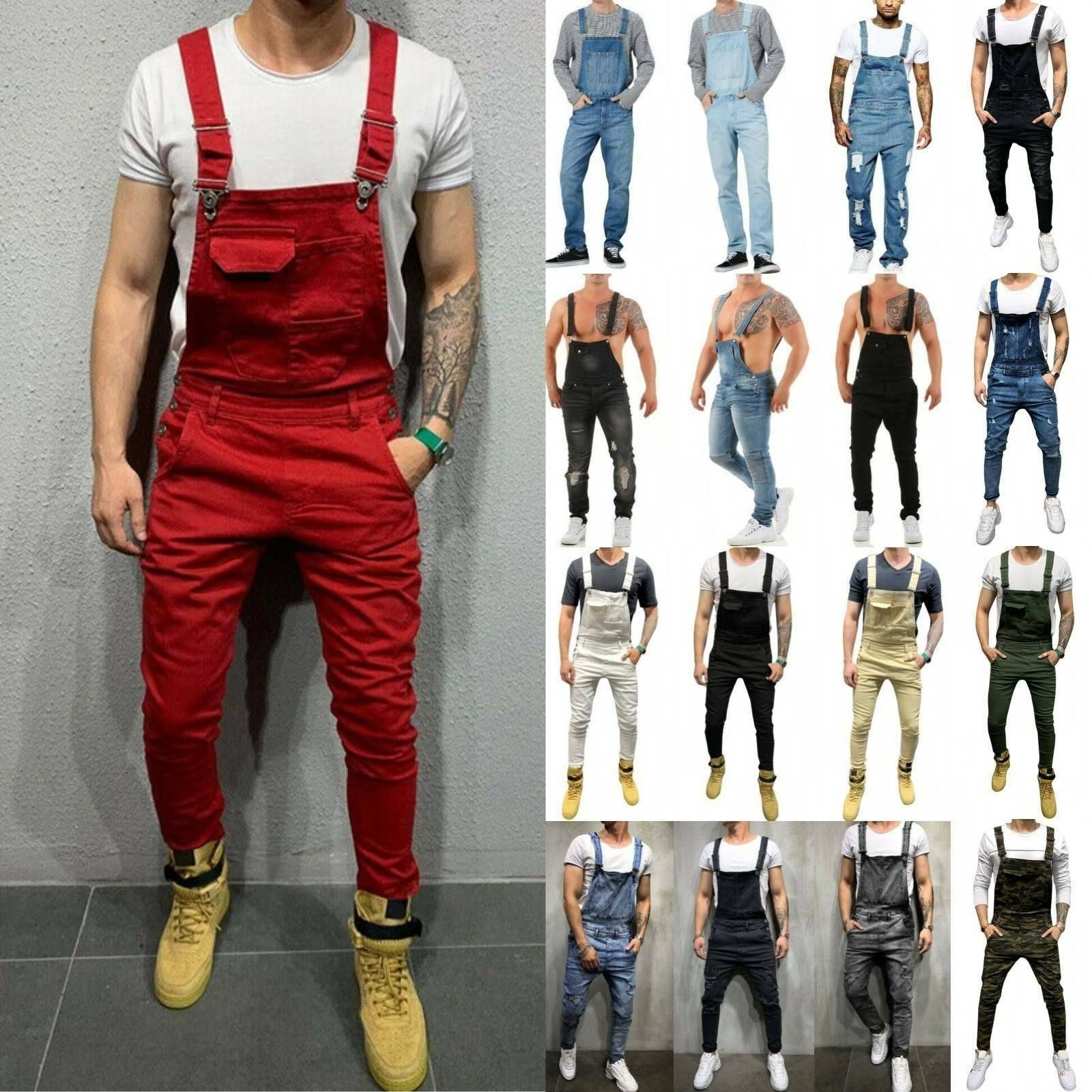 men skinny denim bib pants dungarees slim fit stretch on cheap insulated coveralls for men id=85258