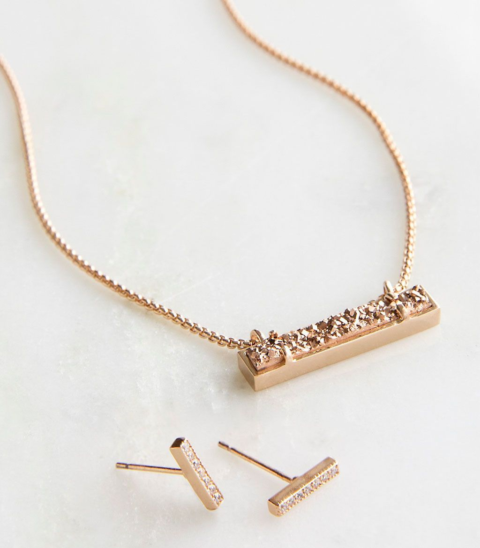 Kendra scott jon u leanor rose gold rose drusy gift set necklace