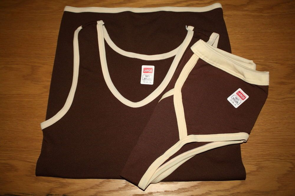 VINTAGE MENS RETRO NYLON BRIEF PANTS AND VEST SET FROM THE 1970s MADE IN THE UK £52.00