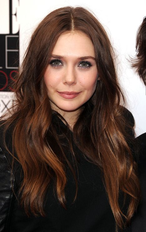 Warm Brown Hair Color And Loose Waves With Middle Part
