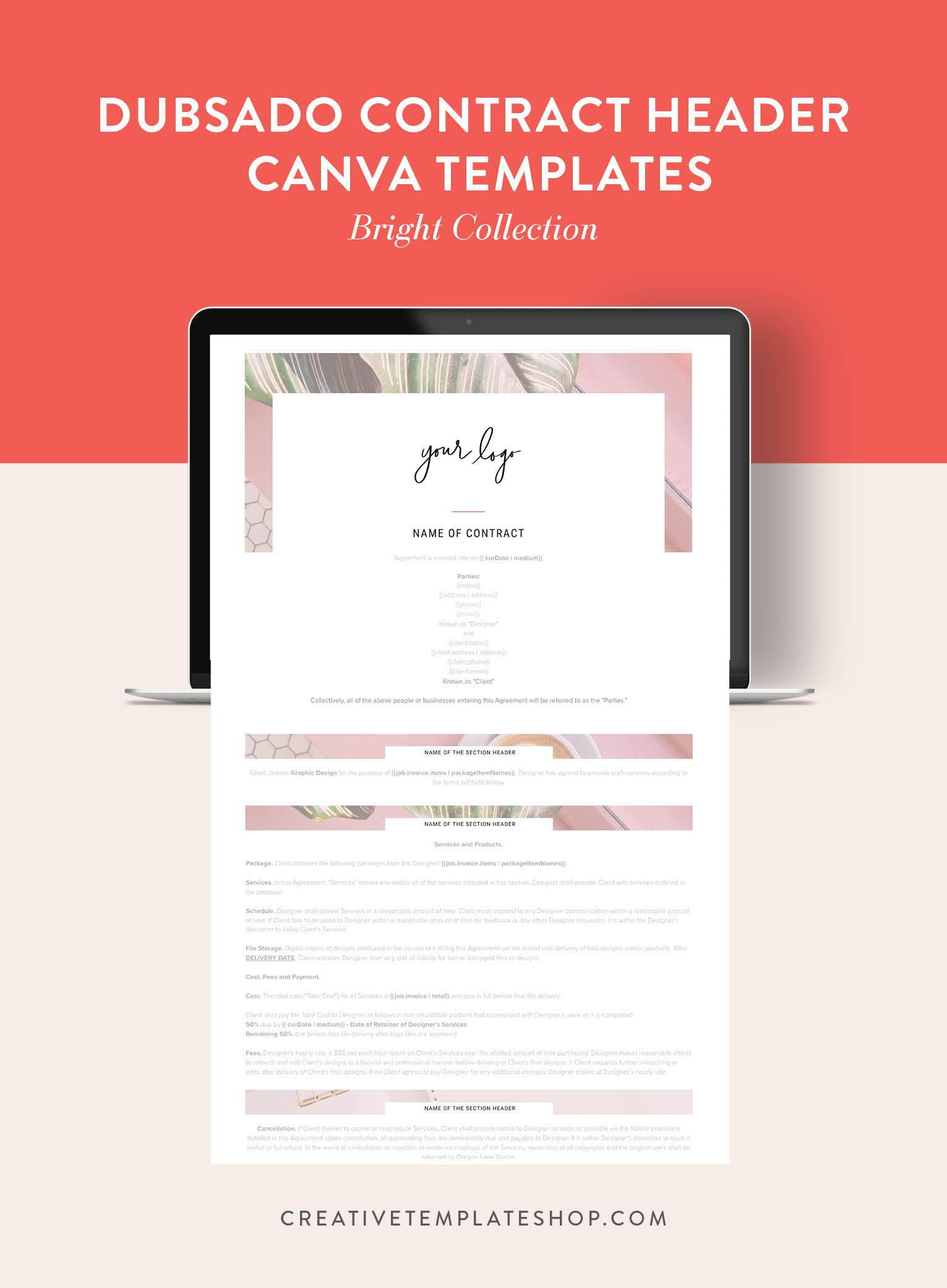 Dubsado Contract Header Templates Canva Bright Collection The Creative Template Shop Marketing Template Templates Business Design