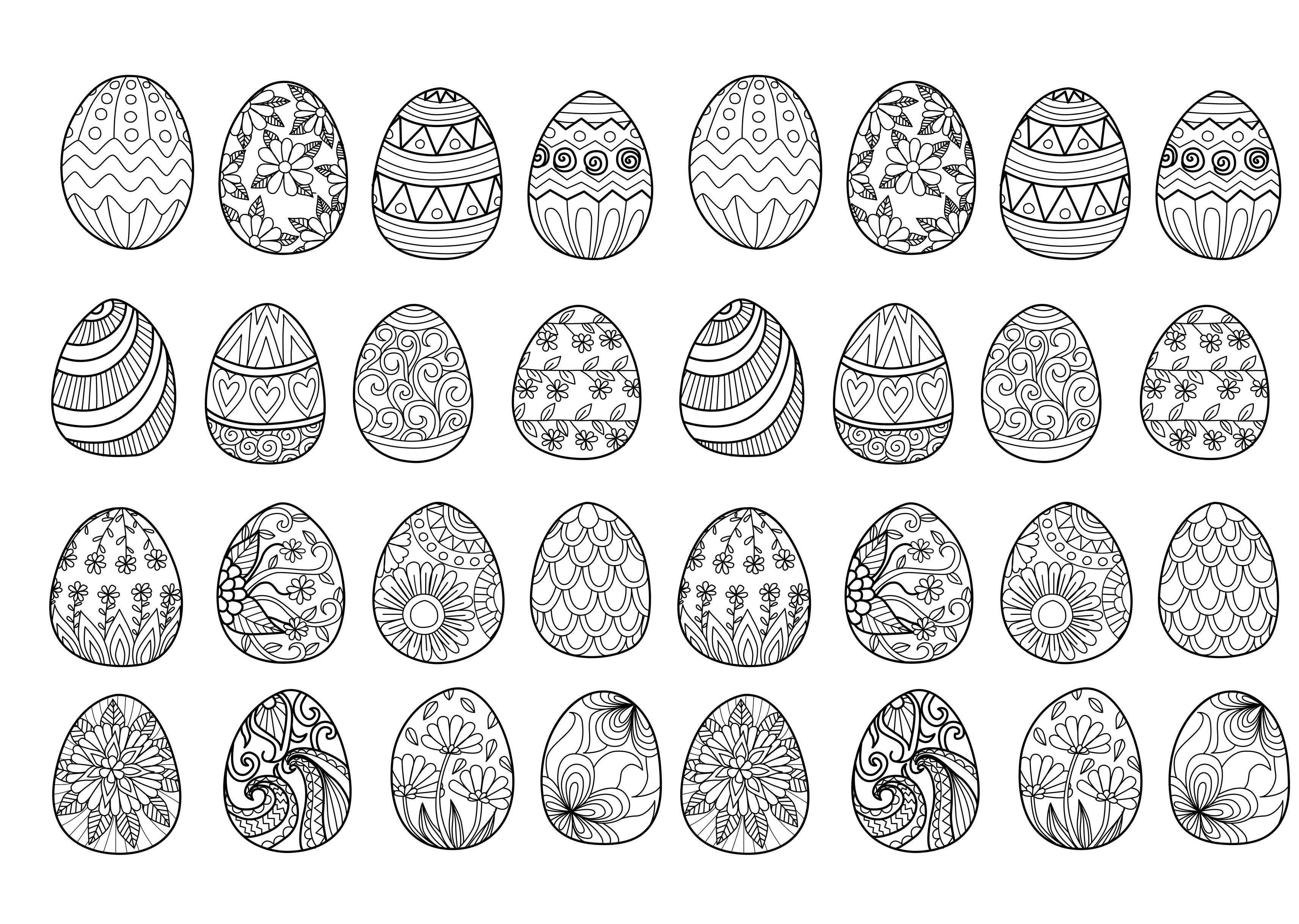 Easter Eggs Complex 32 Easter Eggs To Print And Color Various Styles Patterns From The Gal Easter Egg Coloring Pages Coloring Eggs Coloring Easter Eggs