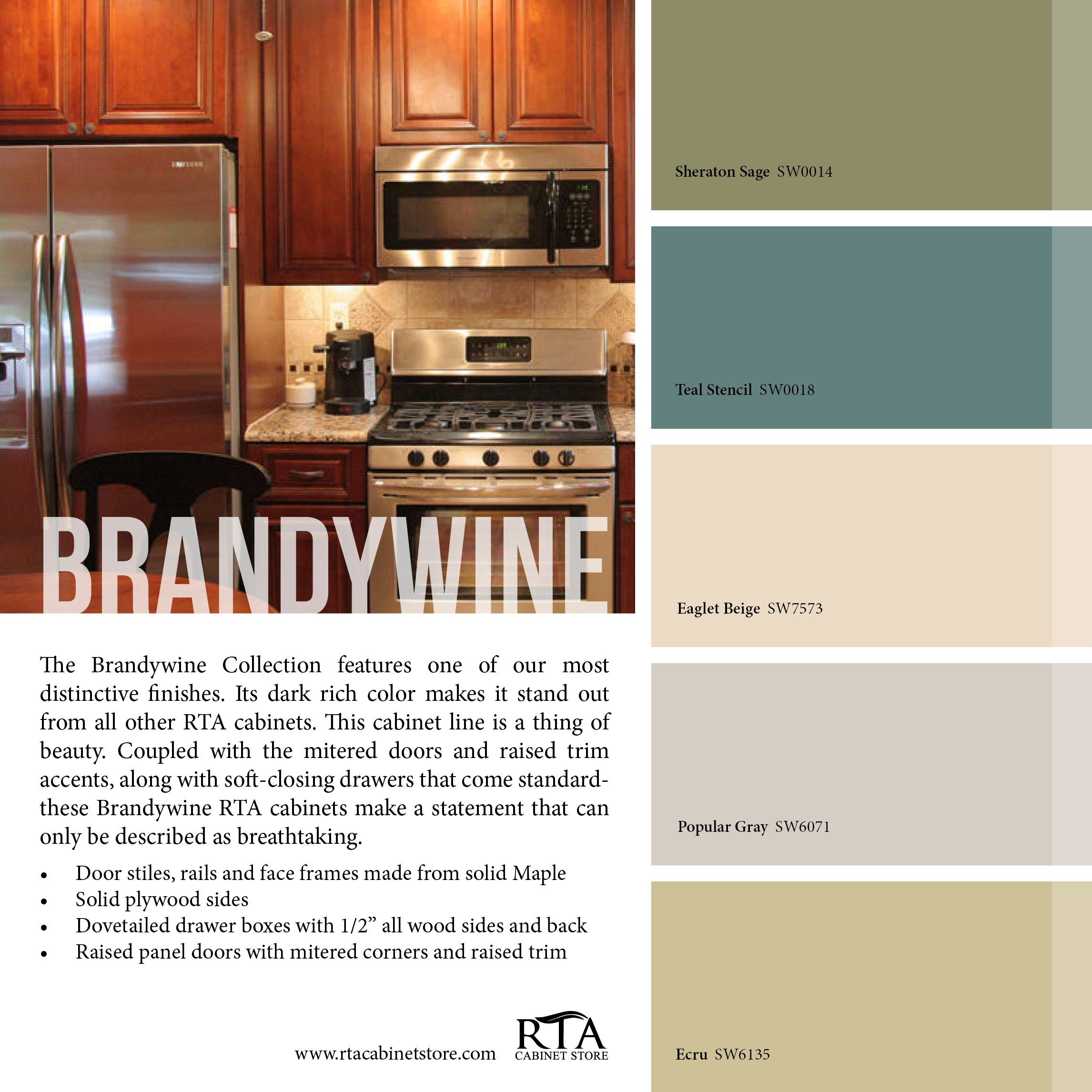 Color palette to go with our brandywine kitchen cabinet for Kitchen cabinets 51