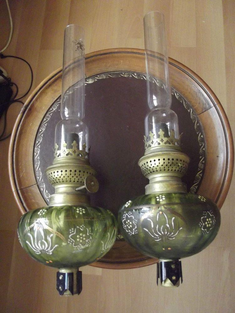 Paire de lampe petrole emaill de piano ancienne en 2019 belle poque et souvenir lampe a - Lampes de salon anciennes ...