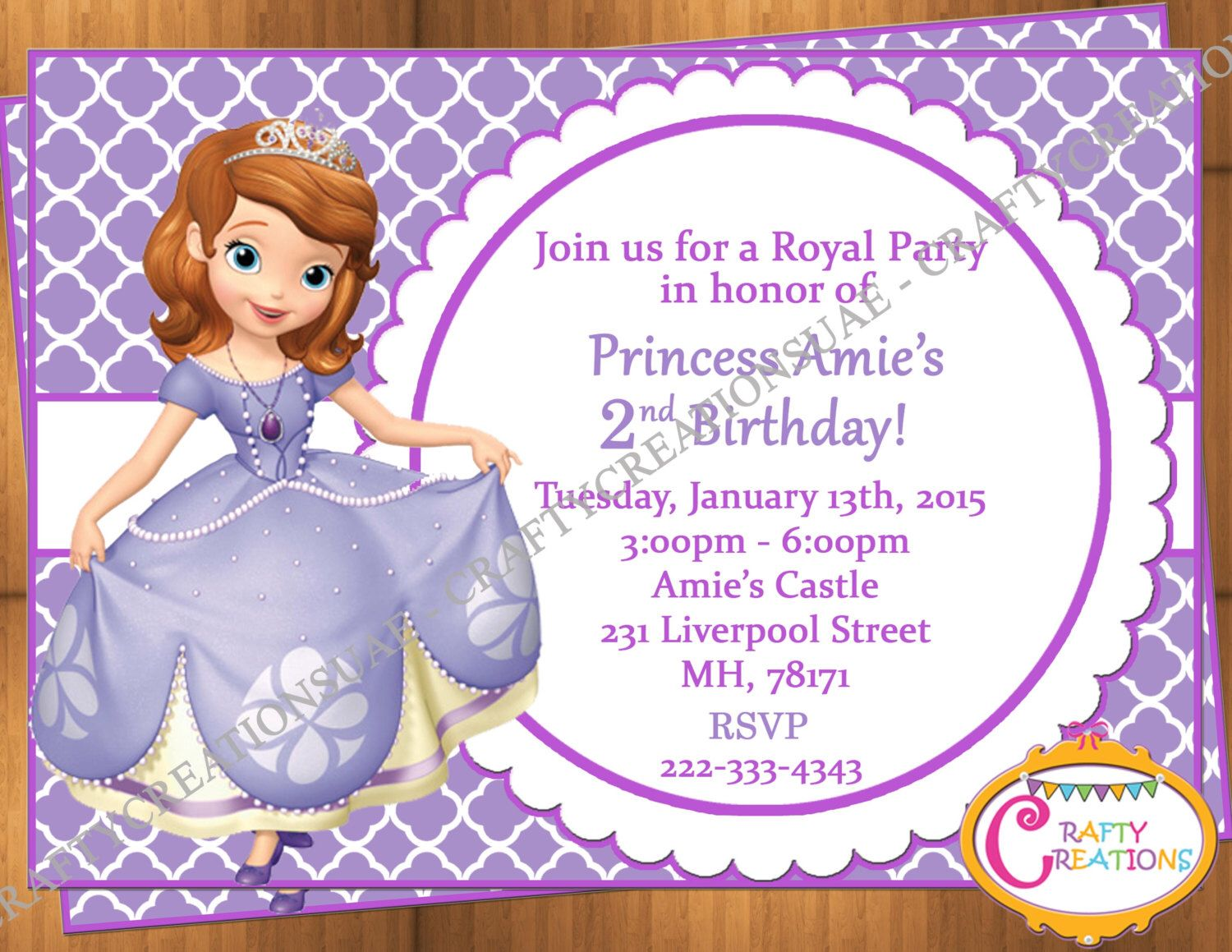 Sofia the First Invitation - Princess Sofia Birthday Party Invite ...