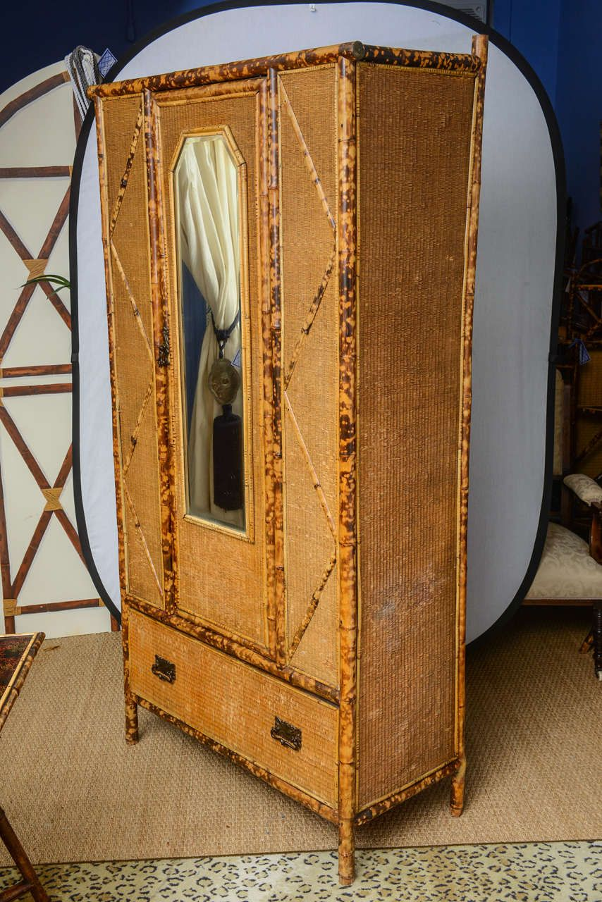 19th Century English Bamboo and Rattan Armoire image 7