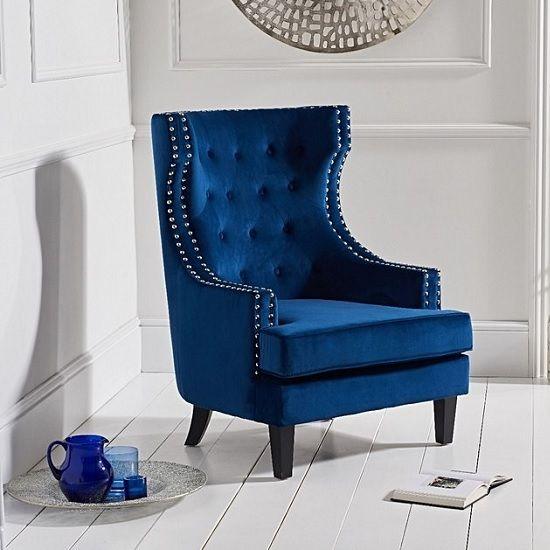 Irina Modern Accent Chair In Blue Velvet With Black Legs Black Upholstered Chair Blue Velvet Accent Chair Accent Chairs