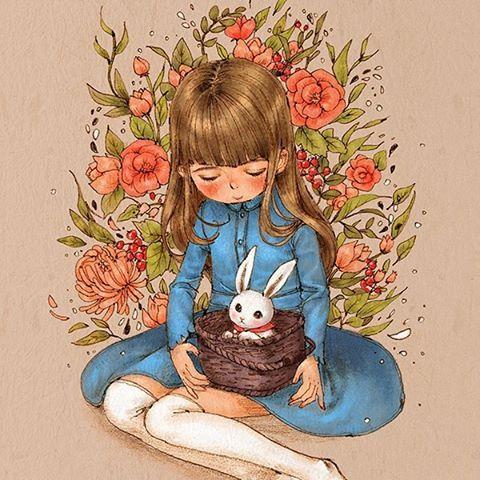 소녀와 토끼바구니 (A girl and a rabbit basket) A white rabbit in a basket appeared. The girl with long hair is holding the basket carefully in her chest.  #illust #illustration #girl #rabbit #flower #flowerillustration #denim #denimonepiece #basket #vintage #vintageillustration #aeppol #drawing #sketch #cute #애뽈 #일러스트 #일러스트레이션 #빈티지 #소녀 #토끼 #데님원피스