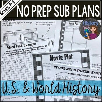 No Prep Emergency Sub Plans for any U.S. or World History Class #emergencysubplans