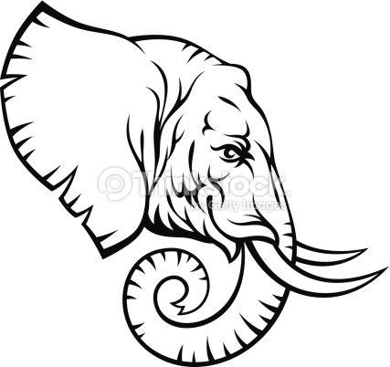 Elephant Head On A White Background Elephant Drawing Elephant Clip Art Elephant Head Drawing