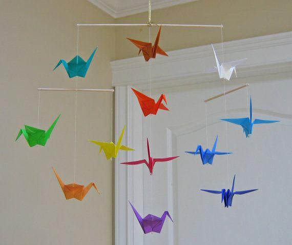 Photo of Origami Crane Mobile – Regenbogen – Modernes Babyzimmerdekor