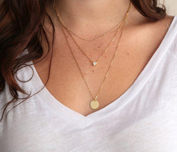 Customized Necklaces Personalized Layered Necklaces Oval Disc Necklace Delicate Gold Necklaces Triple Strand Layered Set