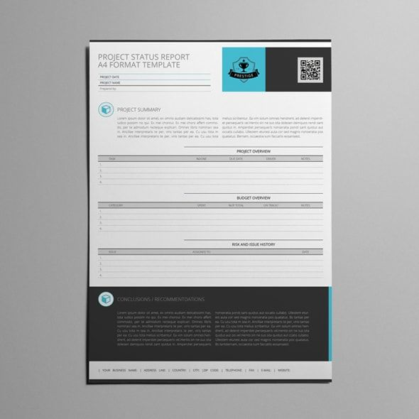 Project Status Report A4 Format Template Templates Pinterest