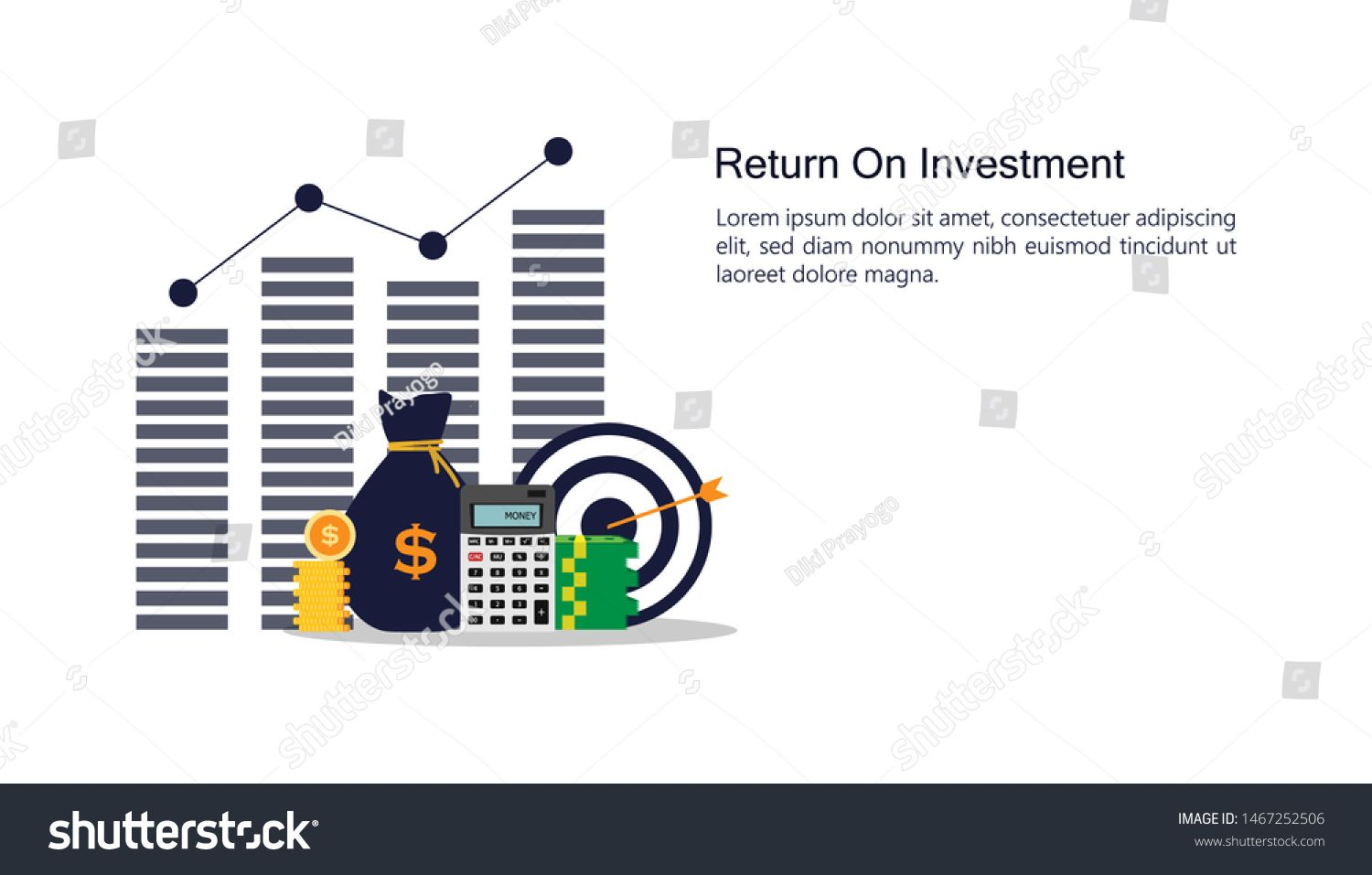 Return On Investment Concept Business Growth Arrows To Success Money Stock Pile Calculator And Money Bag Chart In In 2020 Finance Business Growth Business Finance