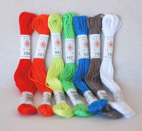 Embroidery Floss Breakdance Pallete  7 Skeins by CraftyWoolFelt