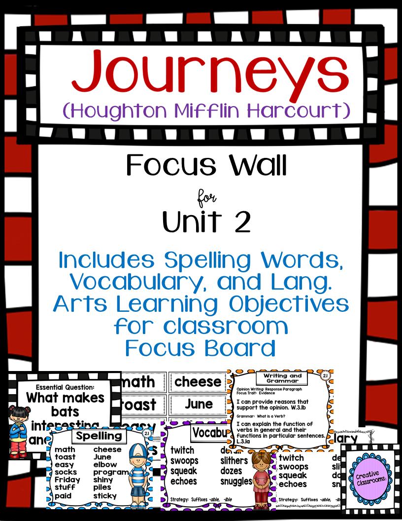 Journeys Third Grade Focus Wall for Unit 2   Journeys Third