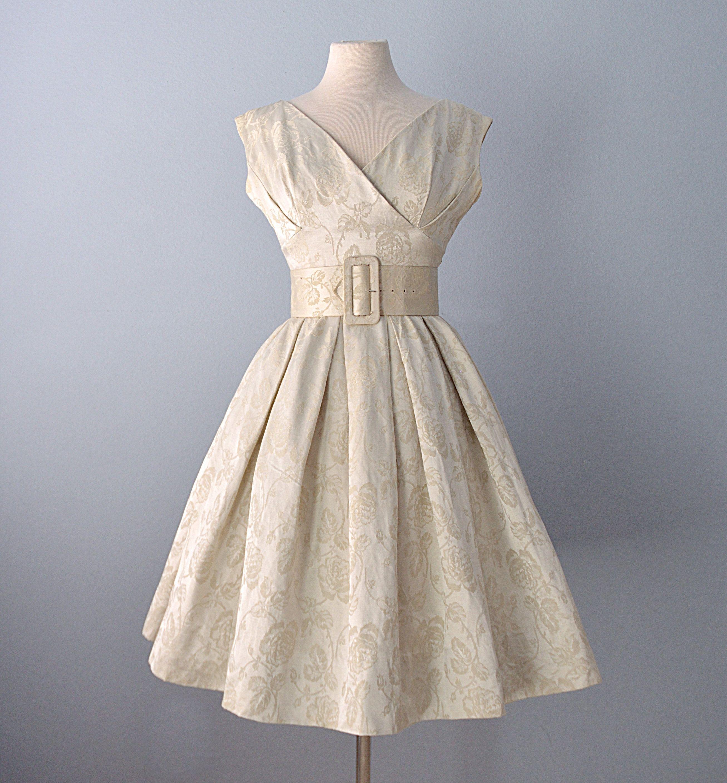 Vtg 1960s Cocktail Dress Gigi Young Champagne Brocade Party Etsy Vintage Dresses 1960s White Striped Dress Cocktail Dress [ 2816 x 2614 Pixel ]