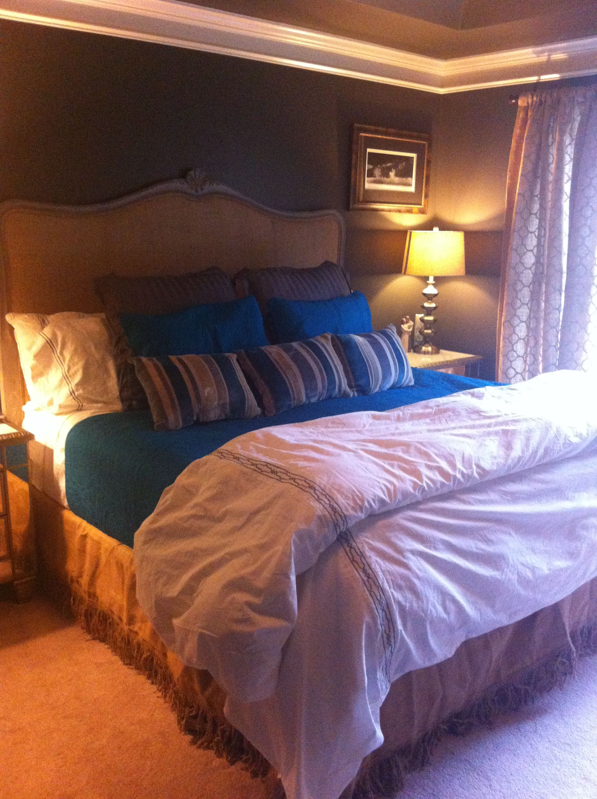 Sherwin Williams 7048, SW 7048, Urbane Bronze, on the walls and ceiling in master bedroom ...