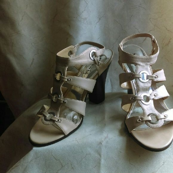 Leather gladiator sandals Cream colored leather gladiator sandals with a block heel Nicole by Nicole Miller Shoes Sandals