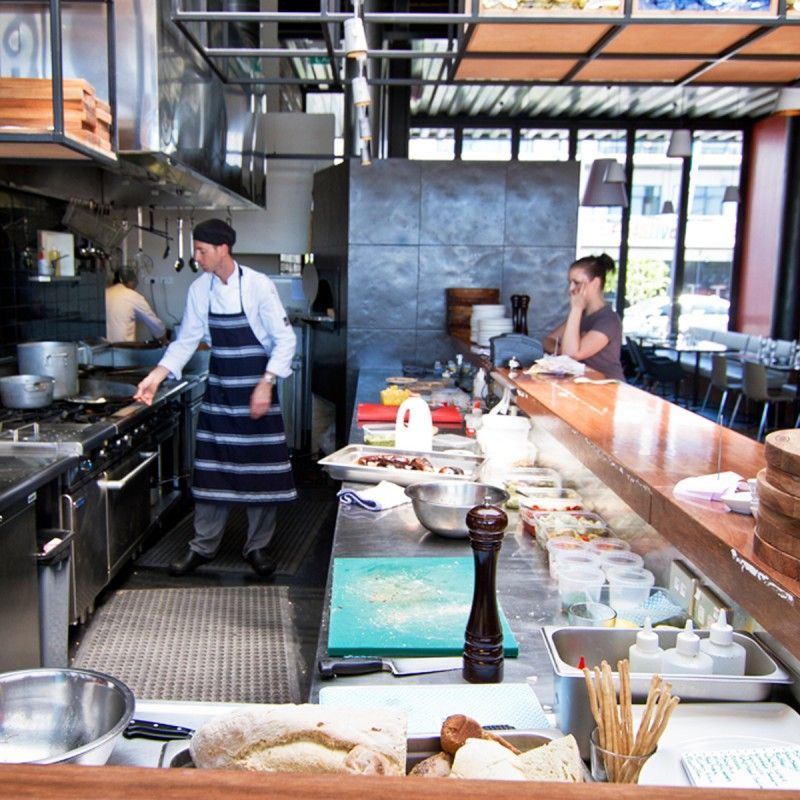 Open Kitchen With Bar Counter Seating And Chefs At Work: Restaurant Kitchen - Everyday I'm Chefing It!!