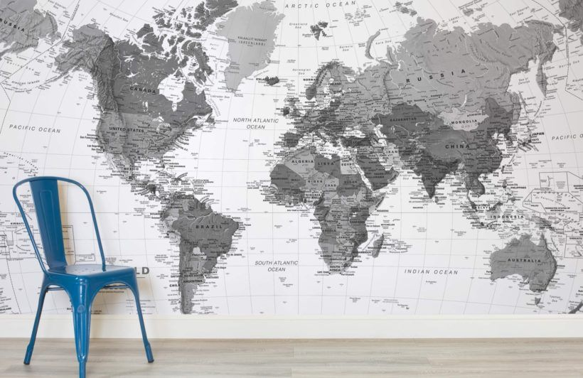 black and white detailed map mural muralswallpapercouk