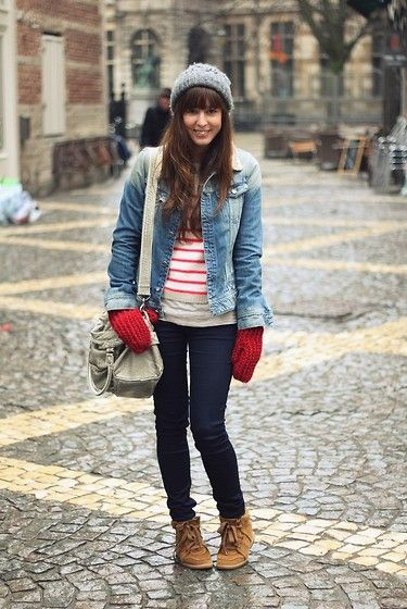 G Star Denim Jacket, Topshop Striped Sweater, H Red Mittens, G Star Skinny Jeans, Isabel Marant Wedge Sneakers