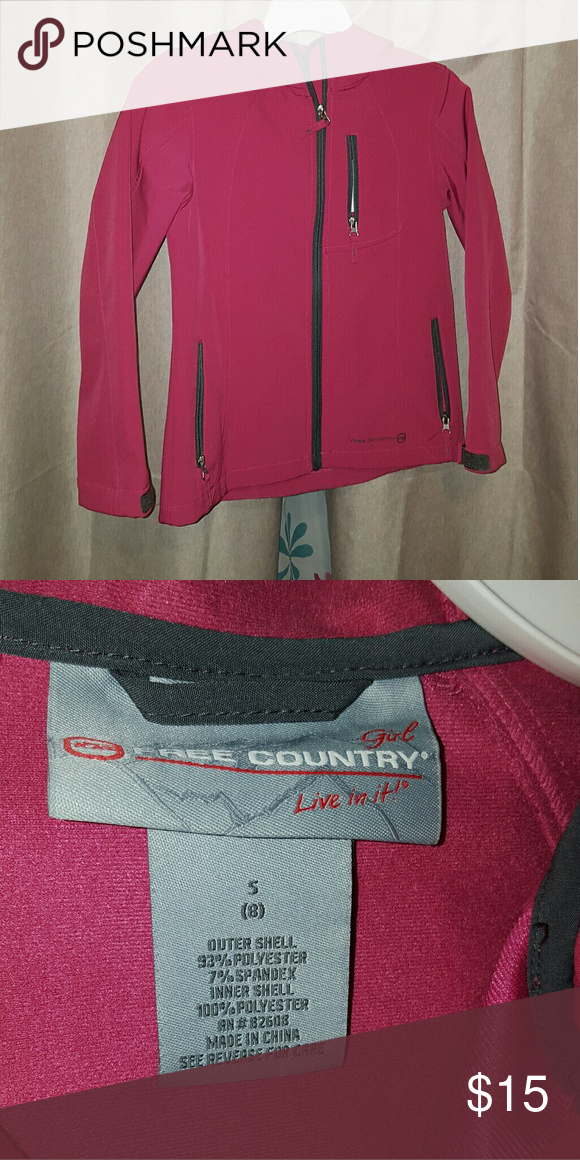 ac43edd9 Girls 8 soft shell jacket Free country. Gently used, like new. Hooded &  water resistant. Fleece lined. Free Country Jackets & Coats Raincoats