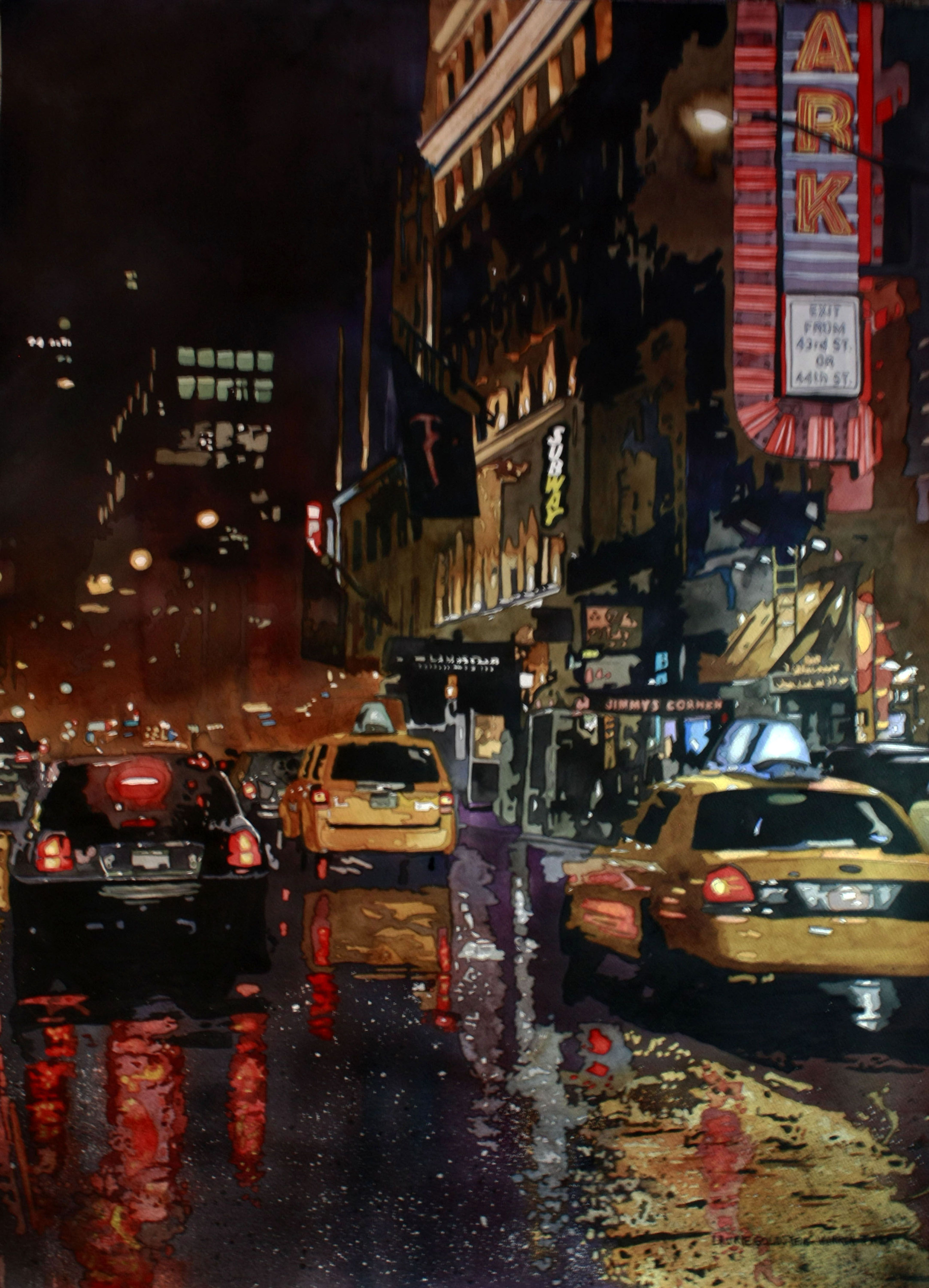 New York, City, Taxi, rain, reflections, traffic, wet ...