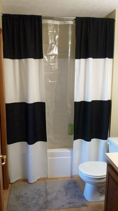You Can Sew A Striped Shower Curtain Tutorial Diy Shower Curtain Diy Shower Black Shower Curtains