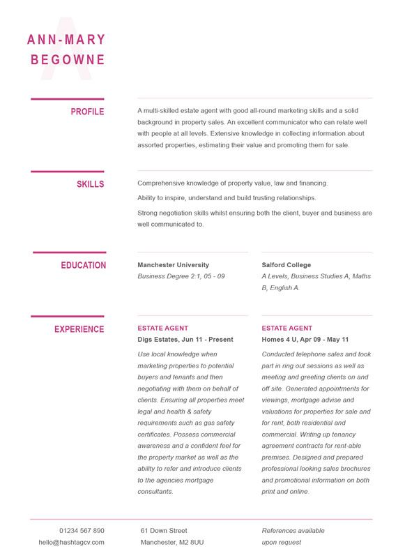 typographic cv    resume design pink from hashtag cv