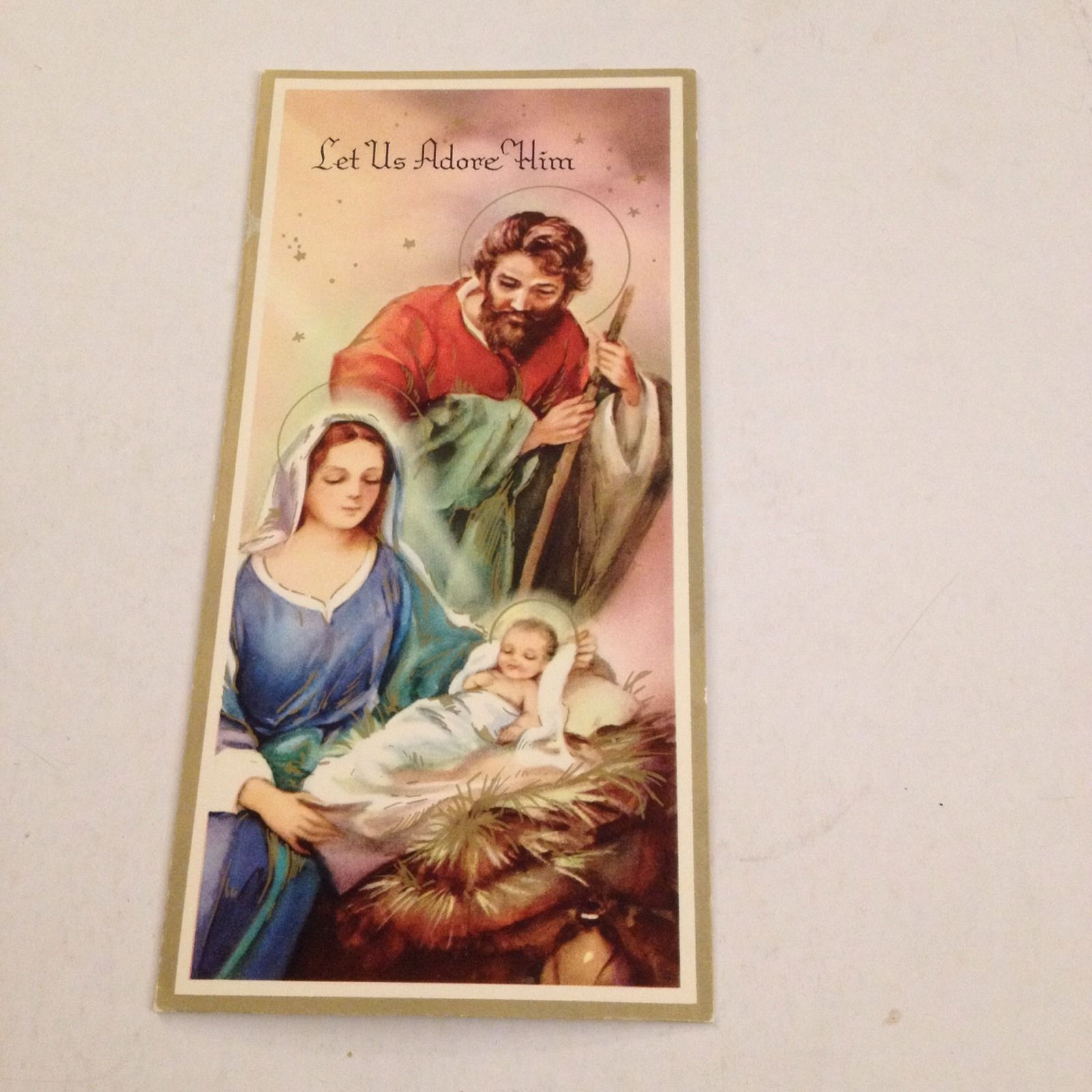 VINTAGE Greeting Card Christmas Adore Him Baby Jesus Mary Joseph - $1.60. This is an auction for a nice card. It is signed. Winning bidder pays 2.50 for shipping and handling in the U.S. Payment needs to be made within 7 days. Please look at our other items to save on shipping costs. Any questions feel free to email. 382288725850