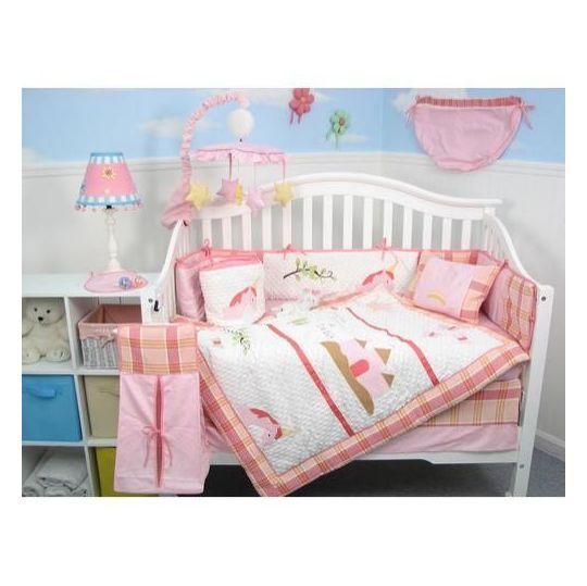 York Pink Unicorn Baby Girl Crib Nursery Bedding Set 10 Pcs