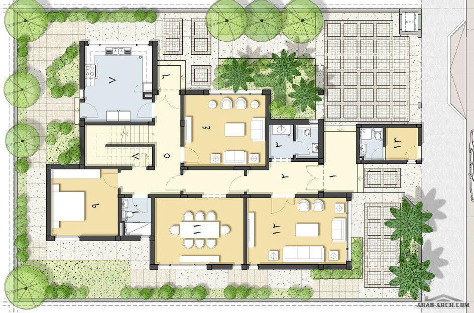 نموذج B2 مخطاطات نماذج الاسكان مساحة البناء الاجمالية 354 م 2 Classic House Design House Layouts Small Modern House Plans