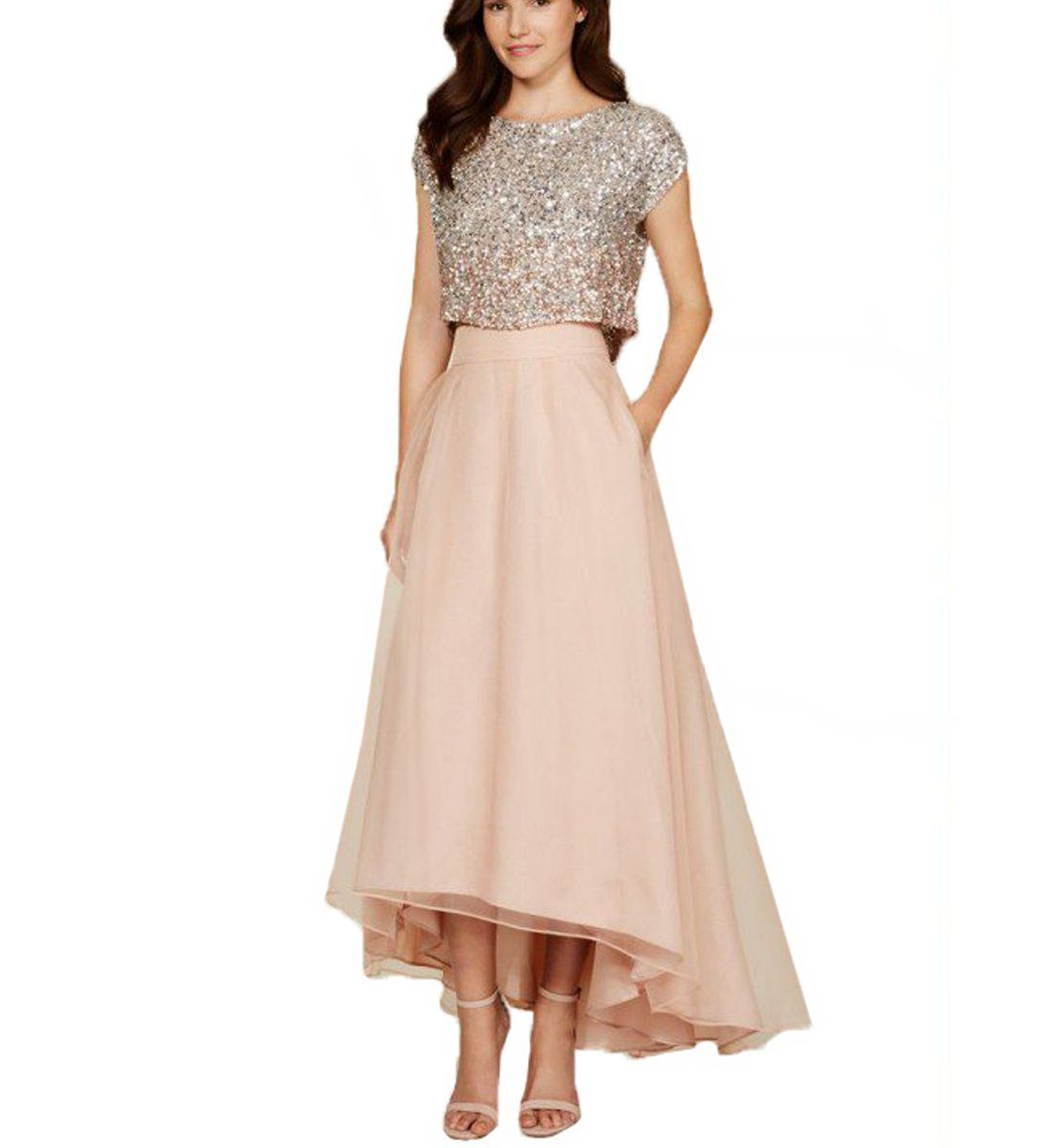 Linabridal womenus piece crystal prom dresses oneck evening