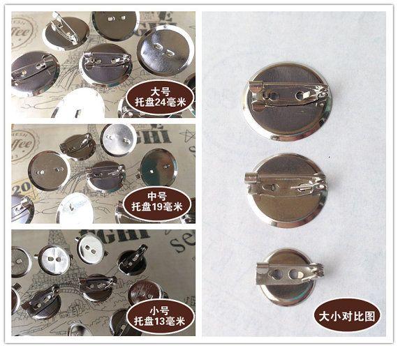 20pcs brooch pins diy cabochon frame setting 13mm/19mm/24mm silver ...