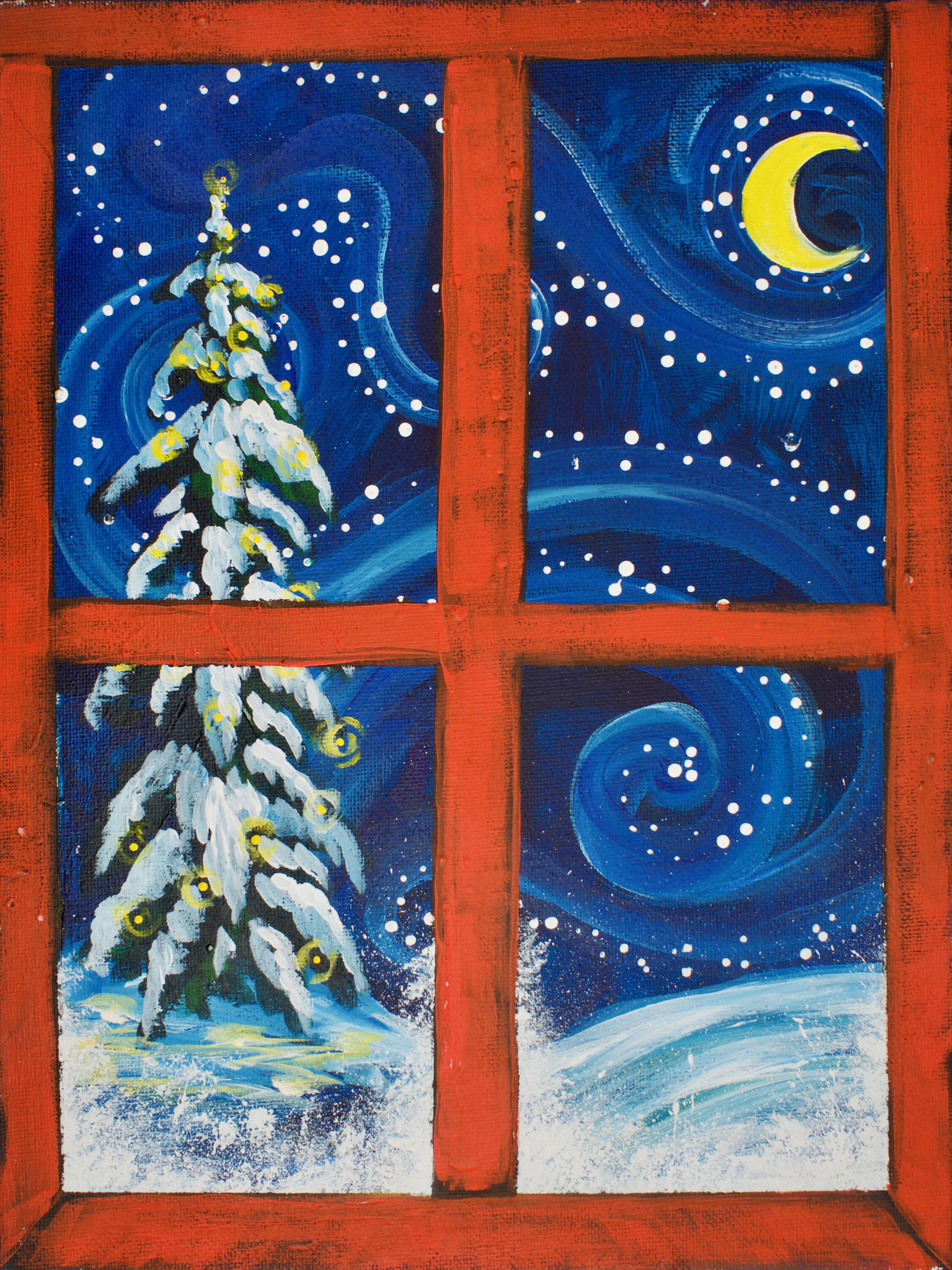Red Window Christmas Snow Scene Easy Painting For Beginners On