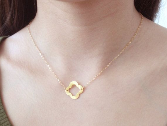 Clover 14K gold filled necklacesimple everyday jewelry by Hepzzi, $25.00