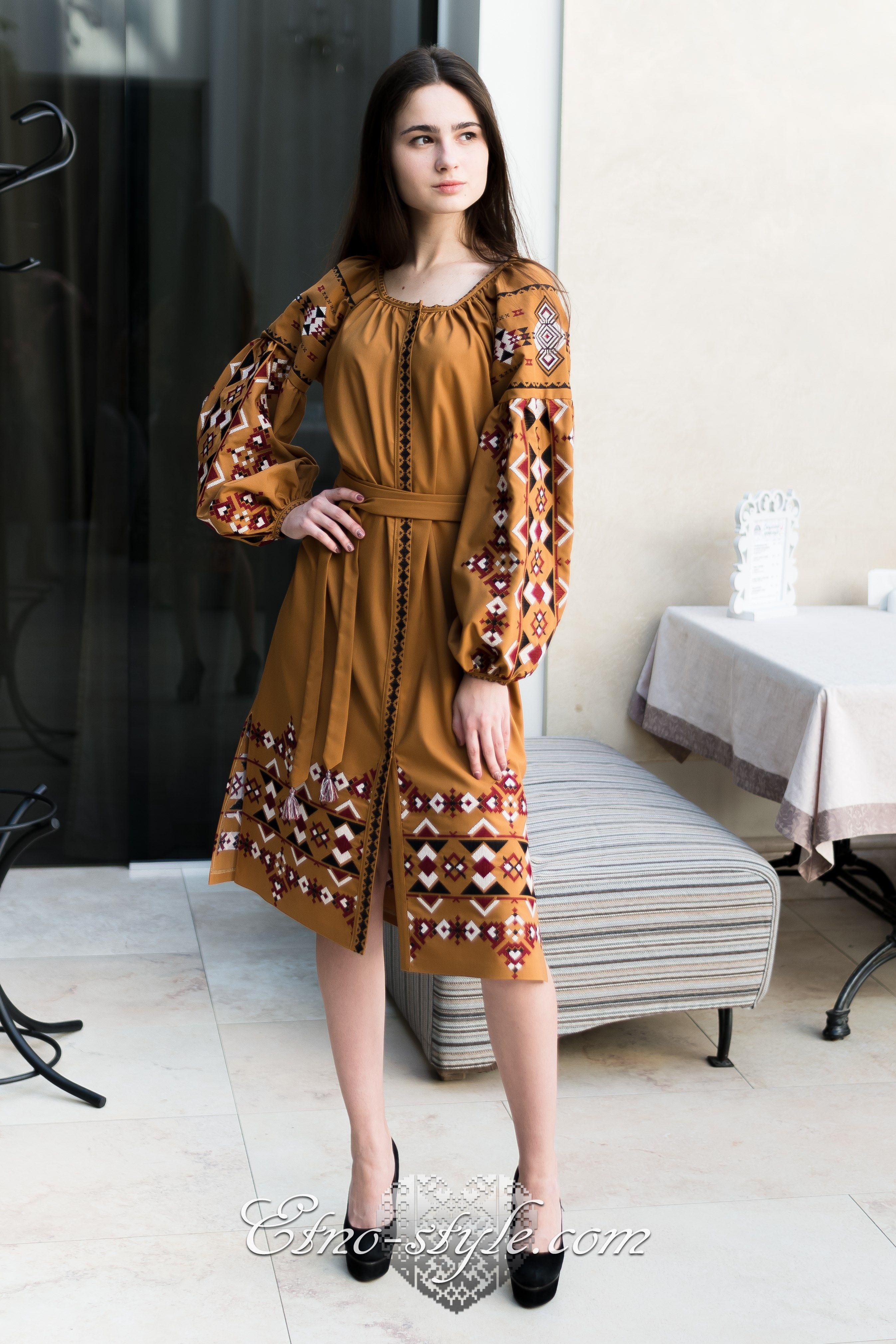 Жіноче вишите плаття Праліне etno-style  1677080b56674