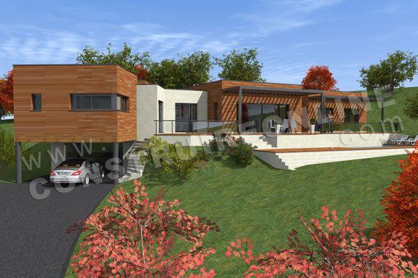 Maison contemporaine sur sous sol partiel de type 6 2 for Plan de maison avec sous sol
