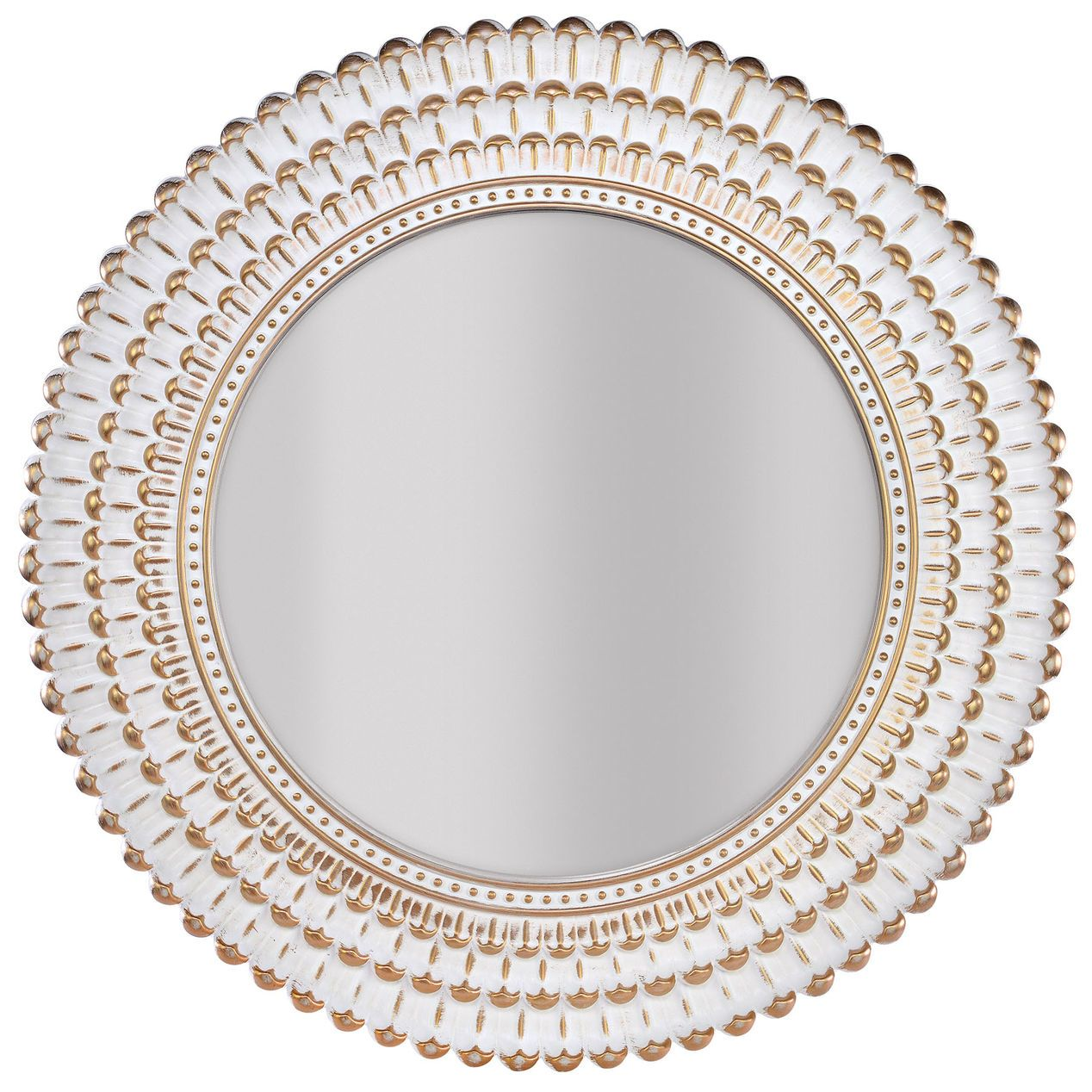 22in White With Gold Mirror Beaded Mirror Gold Girls Room Mirror