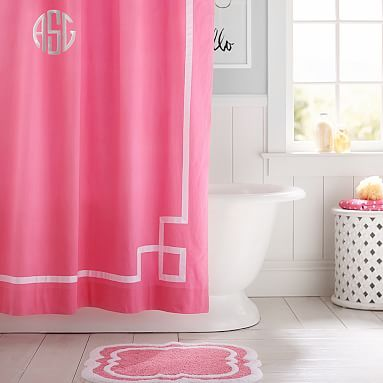 Emma Ribbon Trim Shower Curtain Bright Pink Colorful Shower
