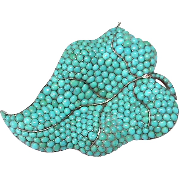 Large Victorian Sterling Silver Turquoise Leaf Brooch boxed